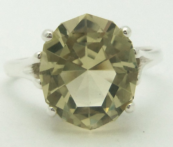 5 Carat Lemon Citrine Gemstone Ring Size 8 1/2 Sterling Silver Hand Cut Gem