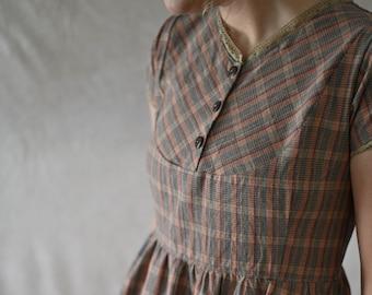 Windsor Dress / Women's plaid homespun dress / short sleeve dress for women / 1800's dress for women / country dress