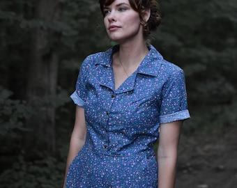 Retro Dress // Blue Calico