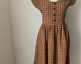 Dress, Golden orange plaid , vintage dress, long dress, short sleeve, summer dresses for women, 1950's dress, retro dress, 1990's, a-line,