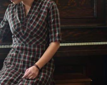 1940's Dress Fall Winter Plaid / 40's dress / women's dresses / Woman's Dress /  Black Dress / Plaid Dress / Soft Dress / New Vintage Dress