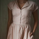 Supermarket Dress - 1950s Casual Dress - Retro Dress - Pink Vintage Dress - Striped Dress - Midi Cotton dress - summer dresses for women