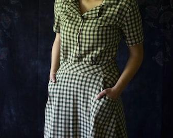 1930's Dress / Vintage Dress / Retro Dress / 1940's Dress / Gingham 1930's / 1920's Dress / Summer Dresses for Women / Summer Dress / Cotton