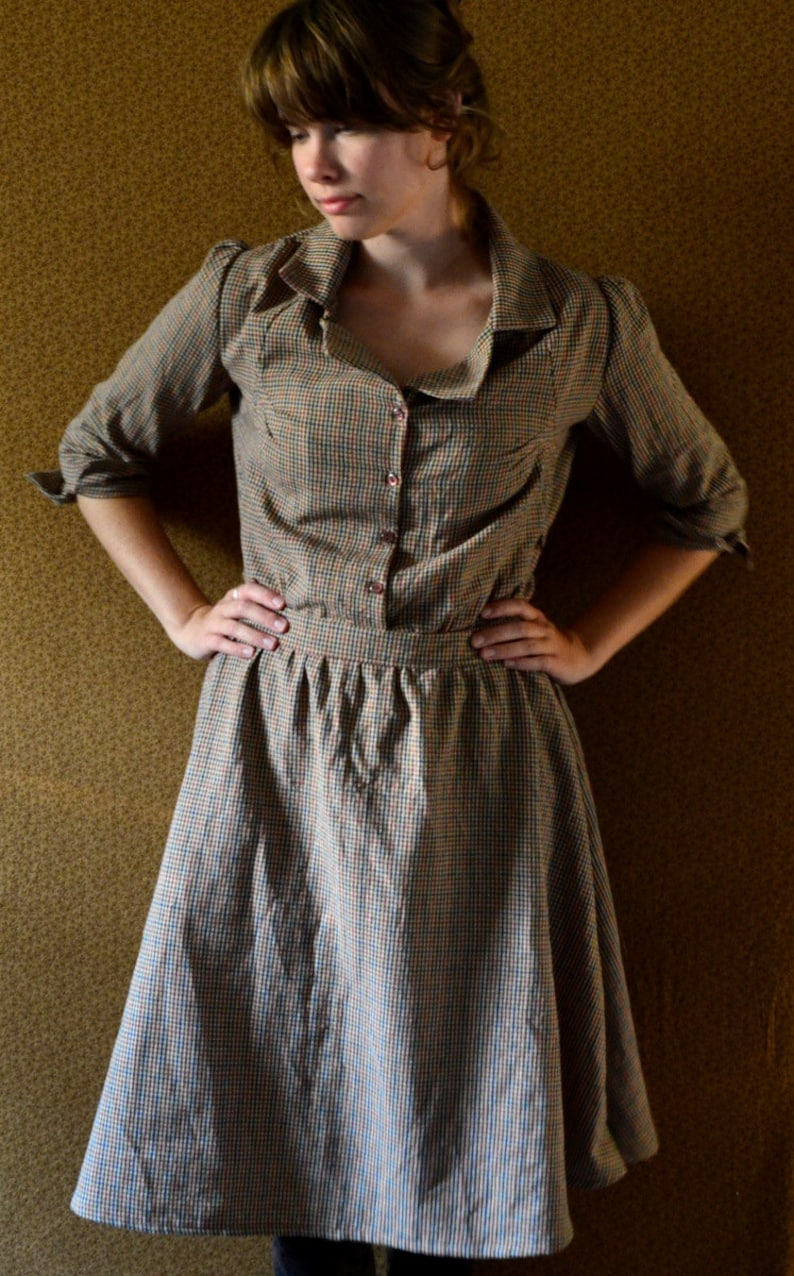 1920s Day Dresses, Tea Dresses, Mature Dresses with Sleeves Dress - Womens Dresses - 1920s Homespun Dress - Plaid Dress Womens Dresses Vintage dress 1930s 1940s Brown Dress Depression Era dress $128.00 AT vintagedancer.com