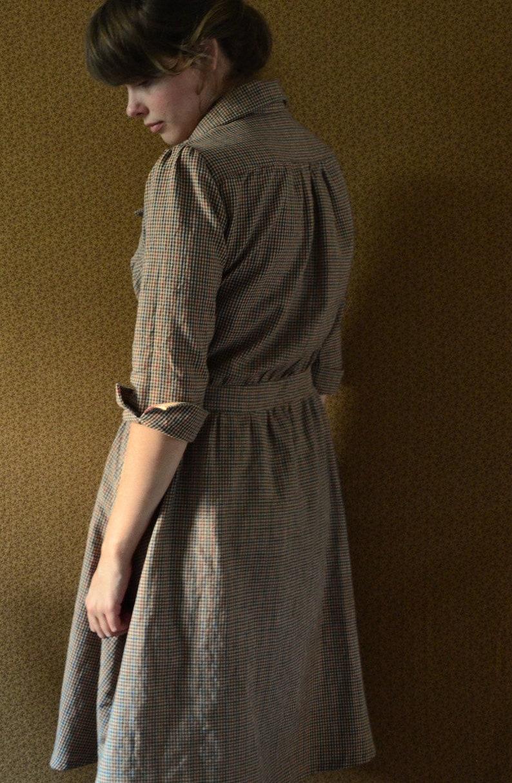 Dress  Womens Dresses  1920's Homespun Dress  Plaid image 0