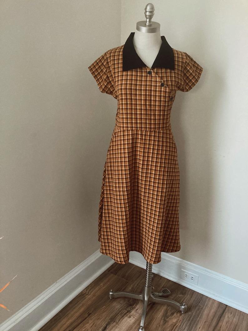 1930s Dresses | 30s Art Deco Dress Where or When Dress- 1930s Short Sleeve Dress - 1930s House Dress - Casual Cotton Dress - Plaid- Vintage Dress - Vintage Dresses For Women $128.00 AT vintagedancer.com
