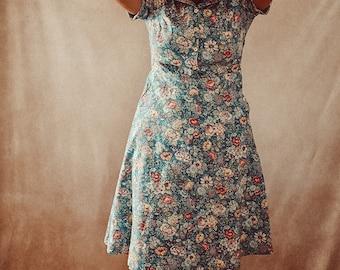 1930's Dress / Vintage Dress / Retro Dress / 1940's Dress / Blue 1930s / 1920's Dress / Summer Dresses for Women / Summer Dress / Cotton