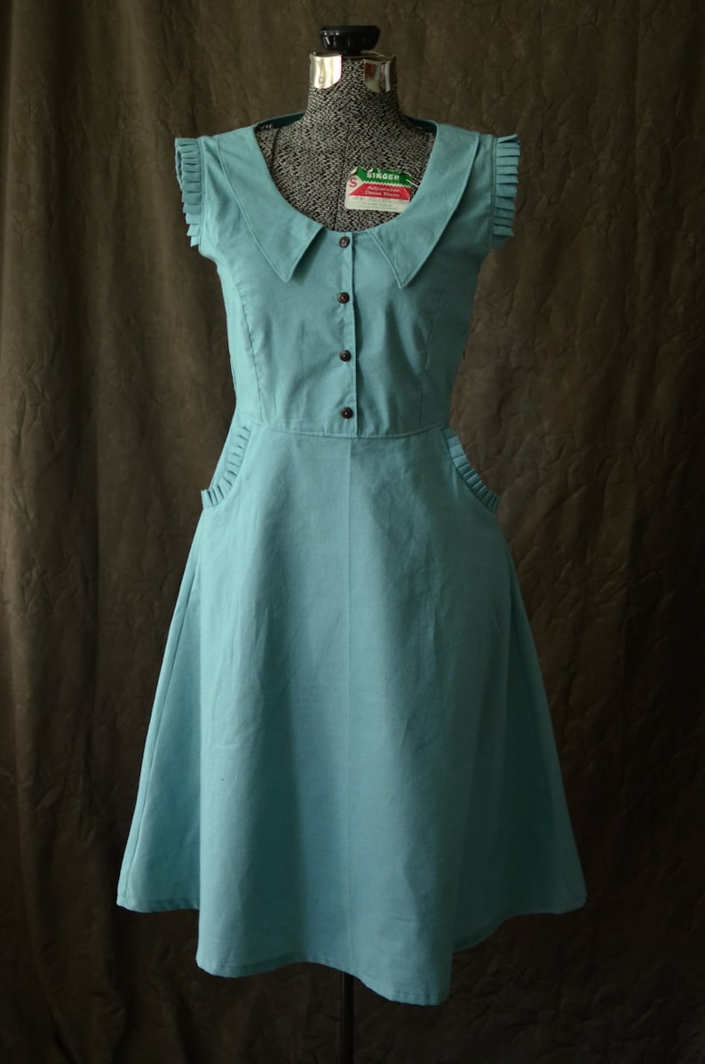 1930s Day Dresses, Tea Dresses, House Dresses Dress 1930s Dress Peter Pan Collar Dress Summer Dresses for Women Retro Dress Cute dresses Vintage Dress 1930s sleeveless dress $89.00 AT vintagedancer.com
