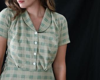 Emmy /1940's Dress / Vintage Dress / Retro Dress / New Vintage Dress / Handmade Vintage Dress / Shirt Dress / Green Cotton Dresses for women