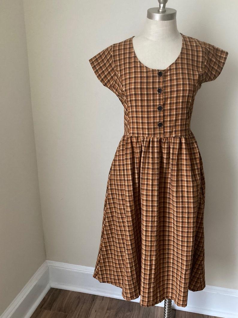Dress Golden orange plaid  vintage dress long dress short image 0