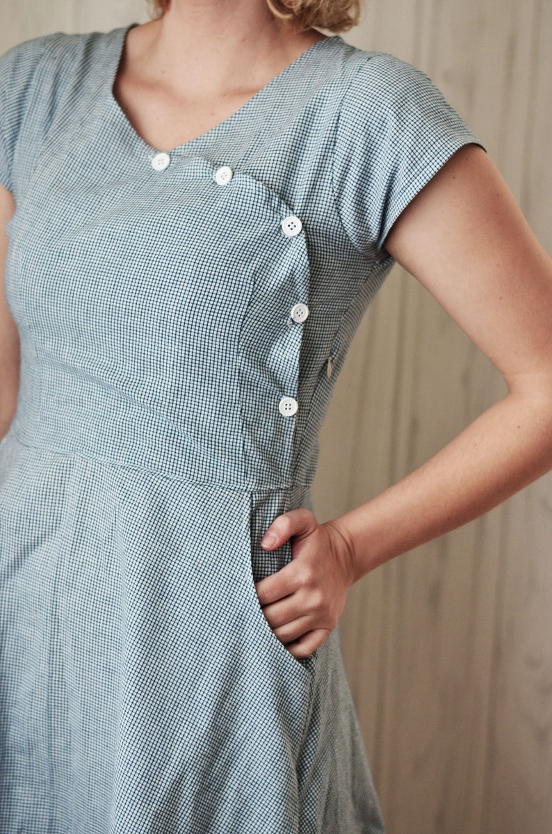 1930s Short Sleeve Dress  1930s Blue House Dress  Casual image 0