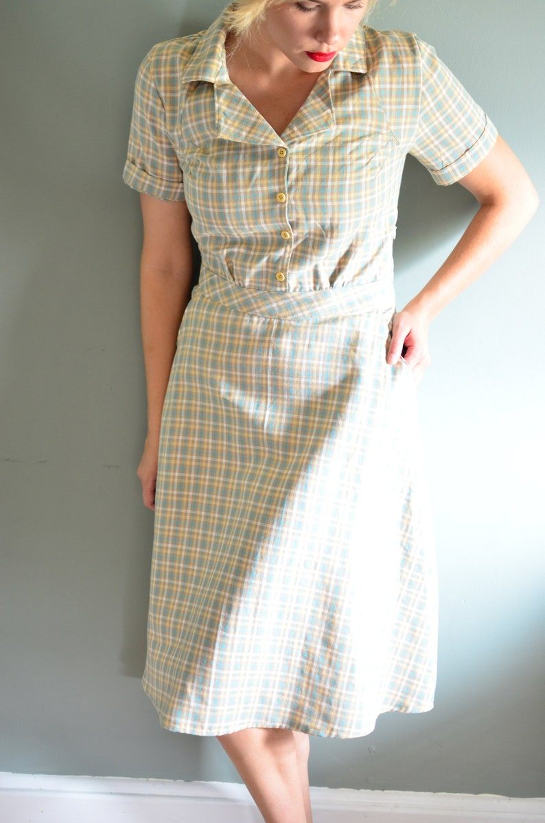 1930s Dresses | 30s Art Deco Dress State Fair 1935 Vintage Dress / Retro Dress / 1940s Dress / Gingham 1930s / 1920s Dress / Summer Dresses for Women / Summer Dress Cotton $98.00 AT vintagedancer.com