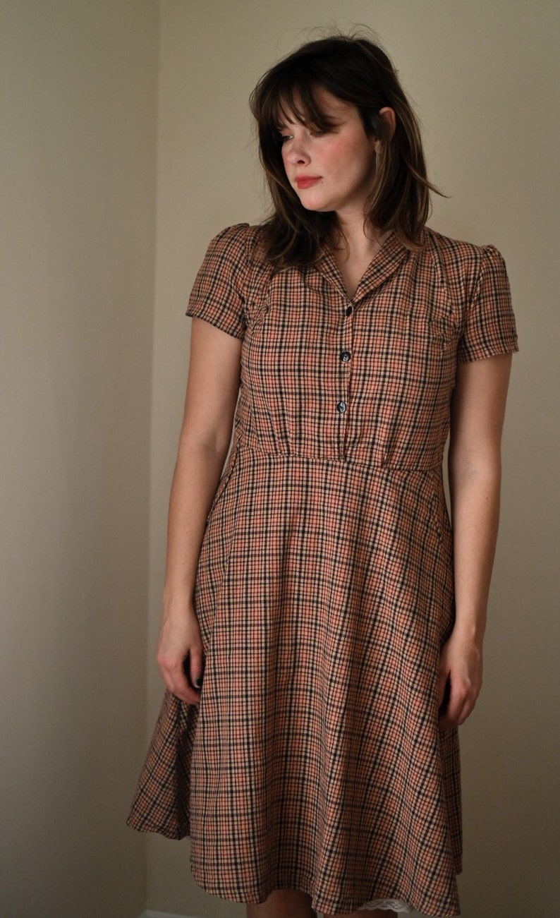 1940s Dress Styles Emmy /1940s Dress / Vintage Dress / Retro Dress / New Vintage Dress / Handmade Vintage Dress / Shirt Dress / Brown Cotton Dresses for women $128.00 AT vintagedancer.com