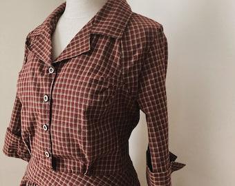 Dress - Womens Dresses - 1920's Homespun Dress - Plaid Dress, Women's Dresses, Vintage dress  1930s 1940's Burgundy Depression Era dress