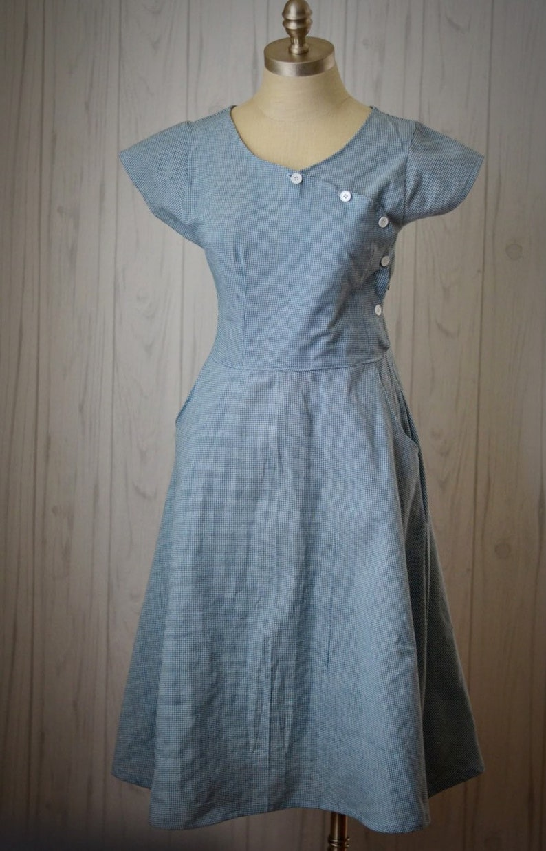 1930s Dresses | 30s Art Deco Dress 1930s Short Sleeve Dress - 1930s Blue House Dress - Casual Cotton Dress - Blue and White Vintage Dress - Vintage Dresses For Women $98.00 AT vintagedancer.com