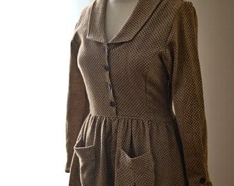 The Artist 1930s- Peter Pan Collar Dress - Long Sleeve Cotton Dress - Vintage Dresses for Women - Ethical Fashion - Cotton Dresses For Women