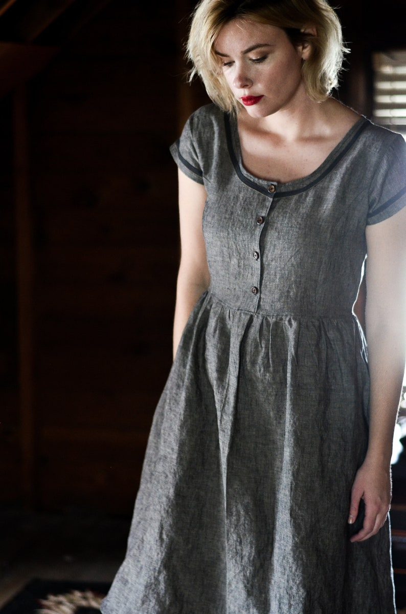 Women's Linen Dresses   Long Grey Linen Dress  Handmade image 0