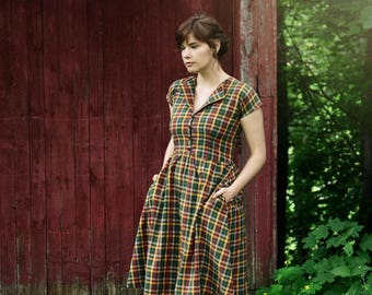 SuperMarket Dress / Day Dress / 1950's dress /  Summer Dress / Retro Dress / Vintage Dress / Long Dress / Plaid Dress / Short Sleeve Dress