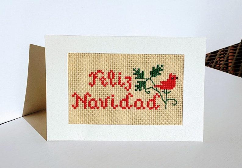 Weihnachtsgrüße Auf Spanisch.Komplette Kreuz Stich Weihnachtskarte Weihnachtsgrüße In Spanisch Fertige Weihnachtskarte Feliz Navidad Karte Bereit Zu Versenden