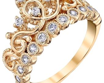 2854629d40 Yellow Gold-plated Silver Princess Crown Ring - AZDBR5456GP