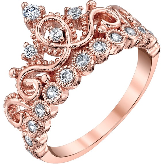 Choose from Rhodium Plate Gold plate or Rose Gold Plate 10mm White CZ Crown Gallery Pendant-18