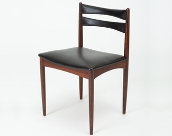 Swedish Modern Rosewood Side Chair With Leather Seat