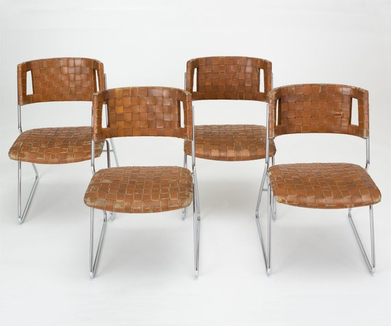 Admirable On Sale Set Of Four Dining Chairs With Woven Leather Upholstery By Chromcraft Spiritservingveterans Wood Chair Design Ideas Spiritservingveteransorg