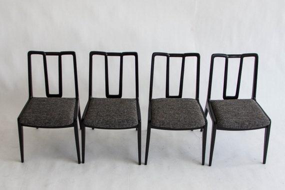 Set Of Four Ebonized John Stuart Dining Chairs | Etsy