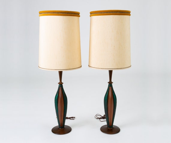 Pair Of Tall Table Lamps In Walnut And Resin By Moderna Etsy