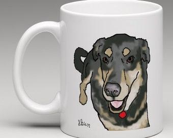 Dog mug (free delivery), mixed breed, german shepherd, mutt
