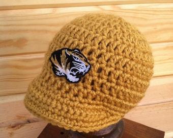 342cea7a8ad Crochet University of Missouri Hat - MIZZOU Photo Prop - Baseball cap -  Baseball hat