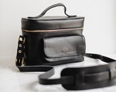 Black Leather Camera Bag, Leather Camera Bag,Camera Bag,Black Leather Travel Bag, DSLR Camera Bag,Photographer Gifts,Travel Gifts,