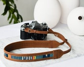 Tan Brown and Blue Leather Camera Strap,DSLR Camera Strap, Personalized Leather Camera Strap, Photography Gifts, Blue Camera Strap