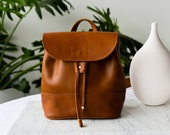Mini Leather Backpack, Womens Small Leather Backpack, Convertible Leather Backpack, Drawstring Leather Backpack