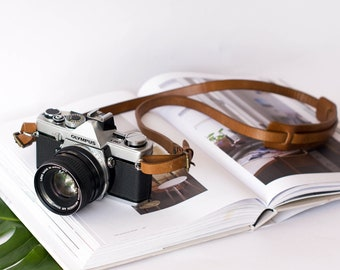 The Brandy Camera Strap, Thin Leather Strap, Brown Camera Strap, Camera Sling, DSLR camera strap, thin camera strap, simple camera strap