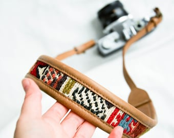 The Artemis Boho Camera Strap, Leather Camera Strap, Brown Tan Strap, Custom Camera Strap, DSLR Canon Strap, Photography Gifts.