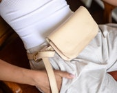 White Leather Fanny Pack,Leather Fanny Pack,White Fanny Pack,White Summer Bag,Best Friend Gift,Gifts for Girlfriend,Travel Bag,Crossbody Bag