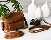 Brown Leather Camera Bag, Leather Camera Strap, Women Camera Bag, DSLR Camera Bag, Vintage Camera Case, Custom Leather bag,Photography Gifts