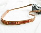 Leather Camera Strap,Gifts for Her,Brown Camera Strap,Embroidered Strap,Photography Gifts,Vintage Camera Strap,DSLR Camera Strap