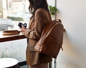 Leather Backpack for Women, Womens Tan Backpack, Laptop Backpack, Travel Backpack, Gifts for her, School Backpack, Gifts for Girlfriend
