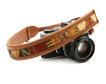 The Sahara Boho Camera Strap, Embroidered Strap, Brown Camera Strap, Leather Tan Strap, Custom Strap, DSLR Canon Strap, Photography Gifts.