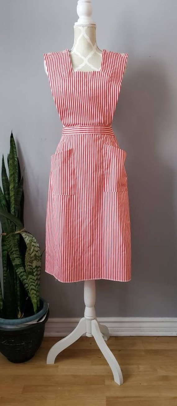 Vintage red and white stripe pinafore dress