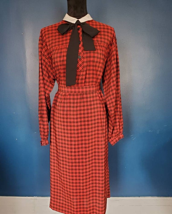 1980s Albert Nipon red checker holiday dress volup