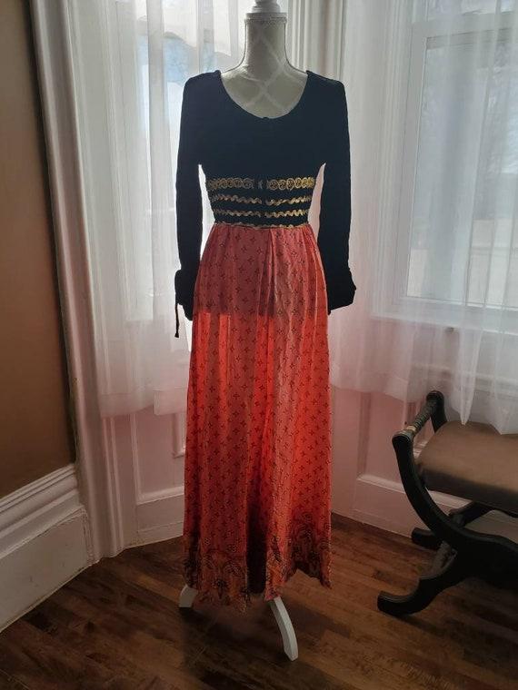 1960s vintage velvet and nylon palazzo jumpsuit