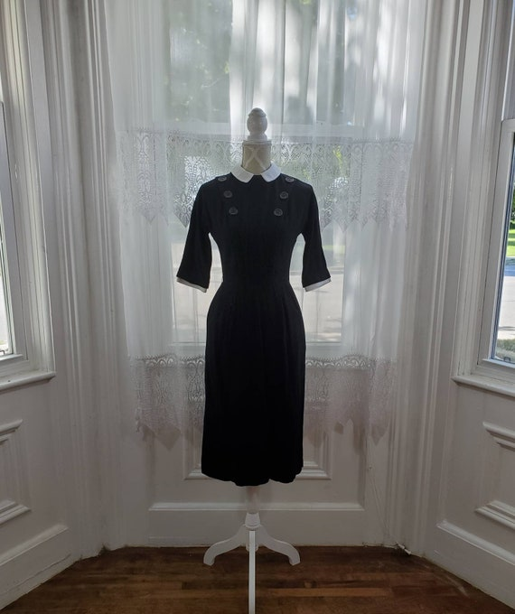 Vintage 1930 1940 I Magnin wool dress