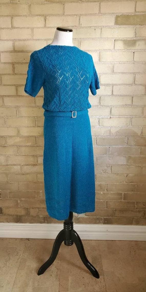 1940s vintage open knit boucle blue dress