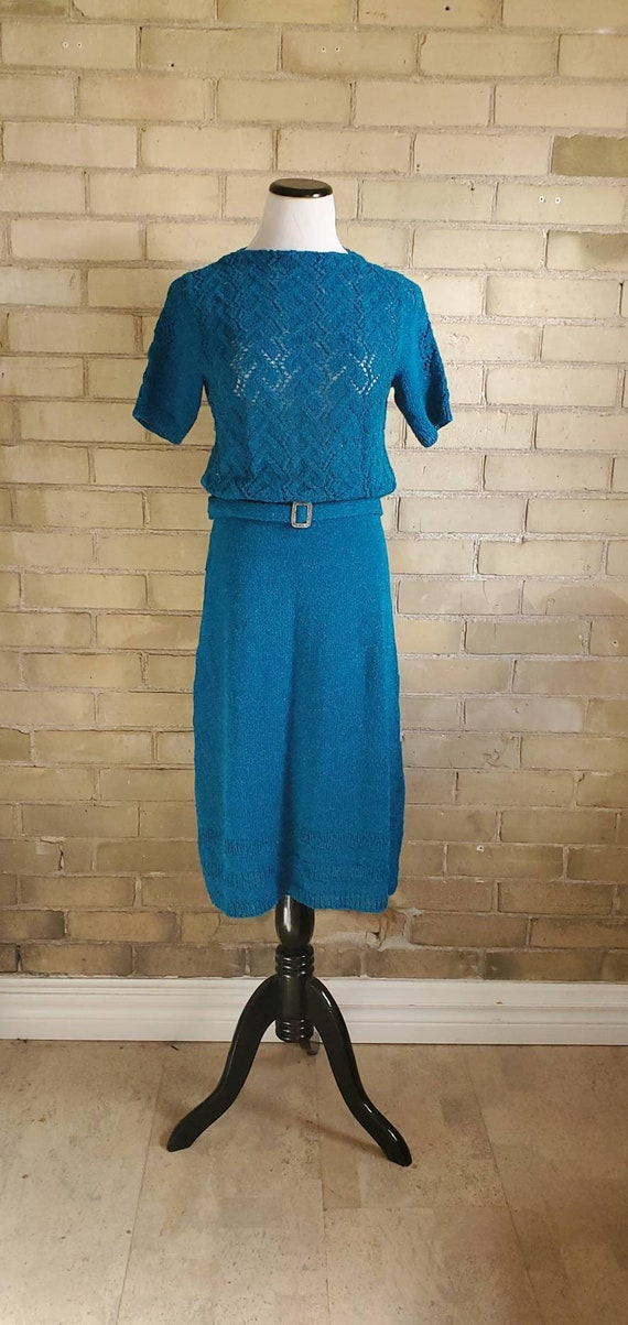 1940s vintage open knit boucle blue dress
