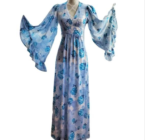 Vintage 70s angel sleeve maxi dress women's blue r