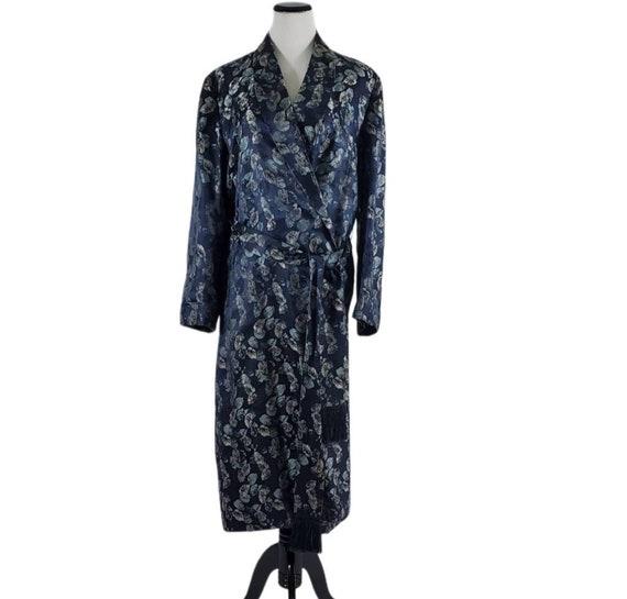A. SULKA Blue silk smoking jacket robe vintage 195