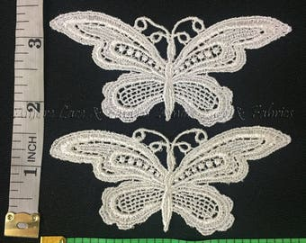 """Item: A0004, 4 Pieces, 3.5"""" x2"""" Slim Venise Lace Butterfly Applique FREE Shipping"""
